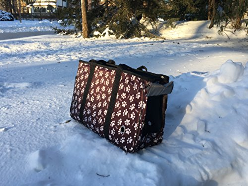 Pet Carrier - Brown With White Paw Print Travel Pet Carrier - Bag For Small Animals, Dogs and Cats by Carriers For Pampered Pets