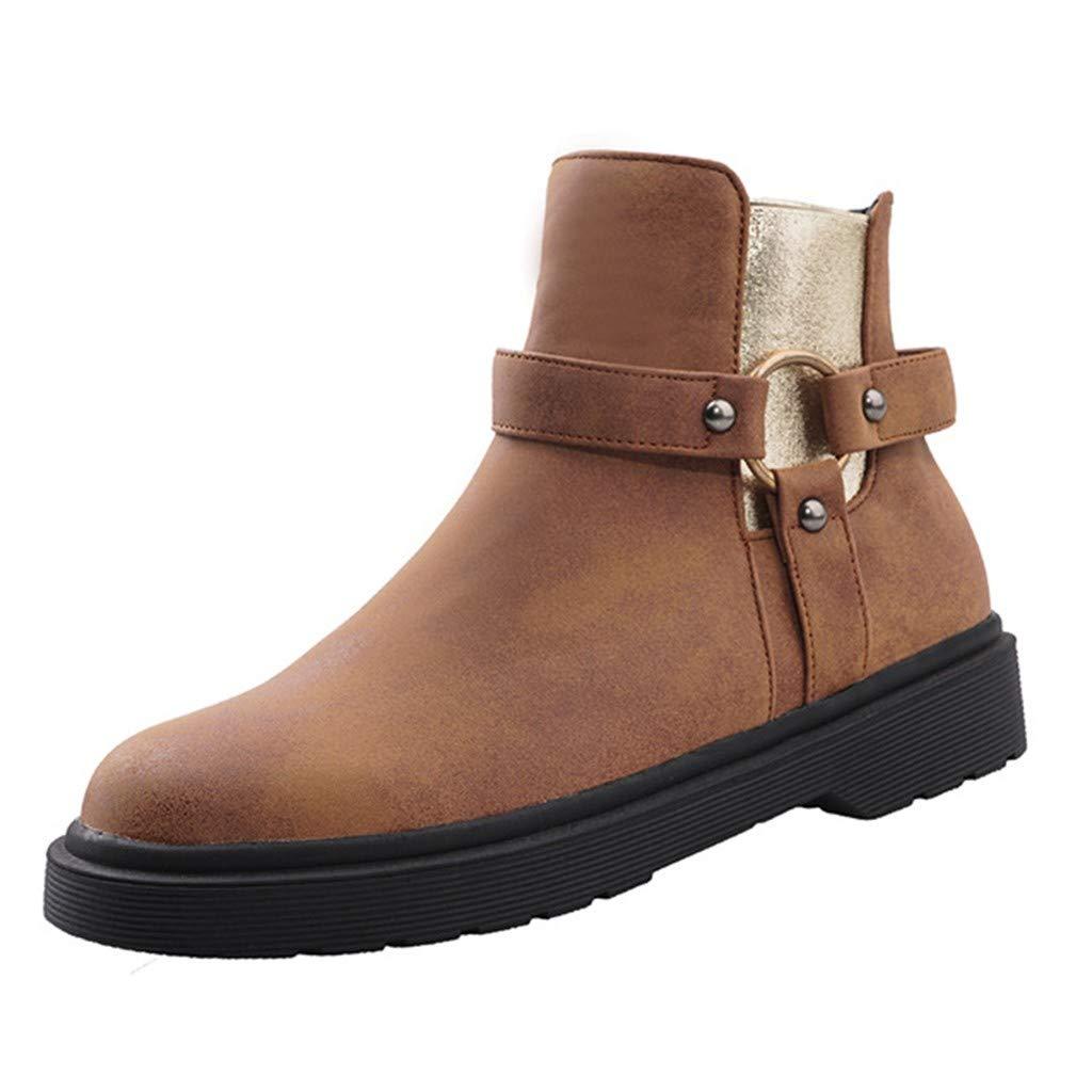 VonVonCo Women Marten Elastic Circle Metal Loop Flat Stylish Shoes Ankle Boots Brown