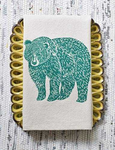 Cloth Napkins - Set of 4 - Bear Design in Dark Green - Organic Cotton by Hearth and Harrow