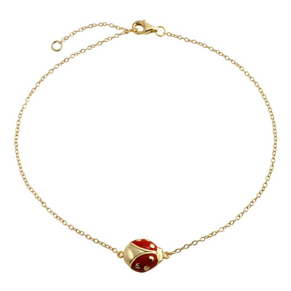 Bling Jewelry Gold Plated 925 Silver Anklet Red Enamel Ladybug PFS-14-1713