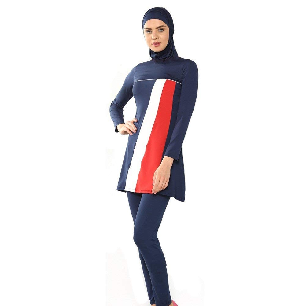 Oudan President Conservative Muslim Swimwear Swimsuit Beach Color : As Shown, Size : One Size Black,XL