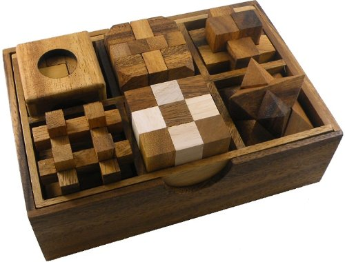 6 Wooden Puzzle Gift Set In A Wood Box - 3D Puzzles for Adults and Teens