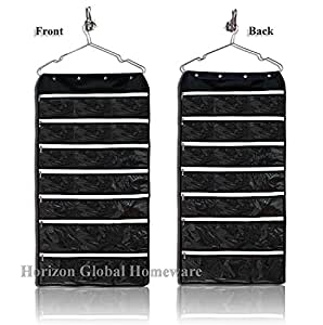 hanging jewelry organizer with 42 zipper pockets for storing jewelries accessories. Black Bedroom Furniture Sets. Home Design Ideas