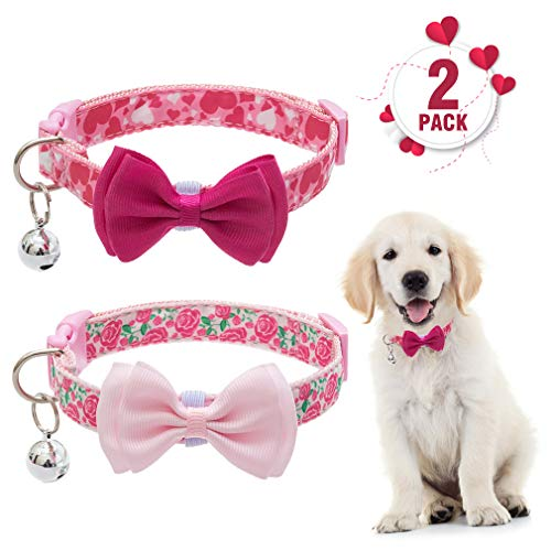 PUPTECK Valentine's Day Dog Collar with Bell – Adjustable Cute Puppy Collar with Removable Bowtie – Romatic Heart and…