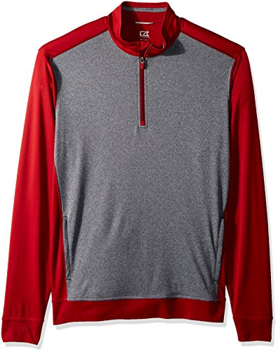 Cutter & Buck Men's Drytec 50+ UPF Replay Colorblock Zip Pullover with Pockets, Cardinal red, 3X Tall ()