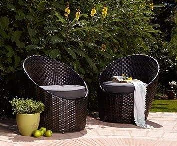 Rattan 2er   2 X Sessel +2 X SITZPOLSTER GARTENMÖBEL Aluminium Rattan 2  Sitzer SET