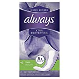 Always Xtra Protection Daily Liners, Long, 40 Count