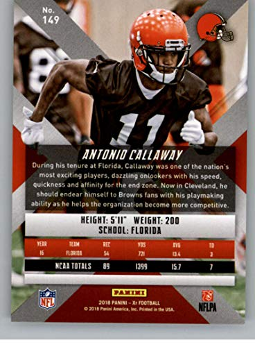 Amazon.com  2018 Panini Xr Football  149 Antonio Callaway RC Rookie Card  Cleveland Browns Rookie Official NFL Trading Card  Collectibles   Fine Art d63e636eb