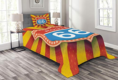 American Traditional Road Trip (Lunarable Route 66 Bedspread Set Twin Size, Famous American Road Trip Destination Signboard in Retro Style Arizona Graphic, Decorative Quilted 2 Piece Coverlet Set Pillow Sham, Multicolor)