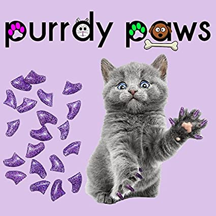 Purrdy Paws Soft Nail Caps for Cat Claws Purple Holographic Glitter Medium