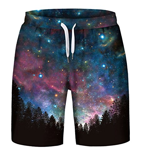 Aieoe Nebula Space Galaxy Mens Classic Fit Summer Shorts Swim Trunk Quick Dry Casual Beachwear US S Purple