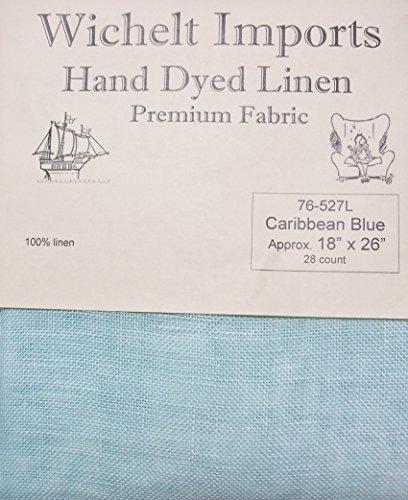 Wichelt Hand Dyed 100% Linen Caribbean Blue 28 Ct 18