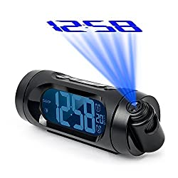 "DGHunter Projection Alarm Clock Radio, Digital Clock with FM Radio, USB Charging, Dual Alarm, Battery Backup, Snooze Function, Sleep Timer & 1.6"" LED Display with Dimmer, Indoor Temperature"