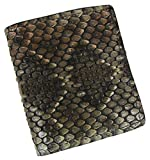 Men's Leather Genuine Rattlesnake Skin Bifold with Id Window Wallet