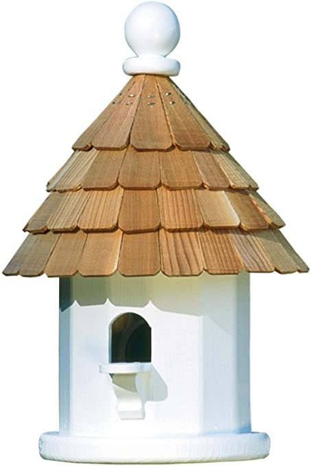 Lazy Hill Farm Designs 41434 Back Porch Wren House White Solid Cellular With Natural Redwood Shingle Roof 9 1 4 Inch By 14 Inch Amazon Co Uk Garden Outdoors