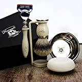Complete 5 Piece Ivory Colour Shaving Set featuring Silver Tip Brush & Gillette Fusion Razor. Perfect as a Gift
