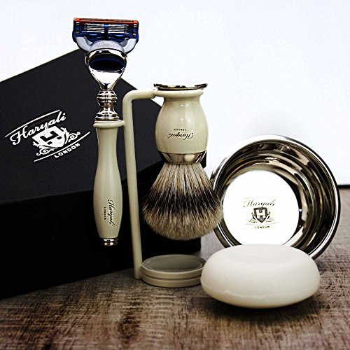 Complete 5 Piece Ivory Colour Shaving Set featuring Silver Tip Brush & Gillette Fusion Razor. Perfect as a Gift by Haryali London