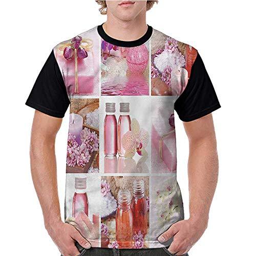 Lightly Raglan Sleeve Baseball Tshirt,Spa,Flowers Wraps Bottles Pattern S-XXL Mens Short Sleeve Blouses