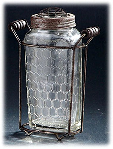 Glass Jar with Metal Flower Frog Lid and Stand (Diamond Star Corp)