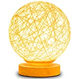 Table Lamp Bedside Desk Lamp Night Light for Kids Gift for Women Warm White Light Rattan Ball Style Button Switch in Bedroom Living Room Girl Boy