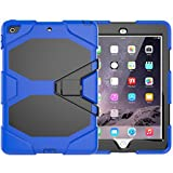 New iPad 9.7 inch 2017 Case, PSRAT [Heavy Duty] Shockproof Rugged Full Body Protective Case with Kickstand, High Impact Resistant Defender Protective Cover for Apple New iPad 9.7 inch 2017 Blue