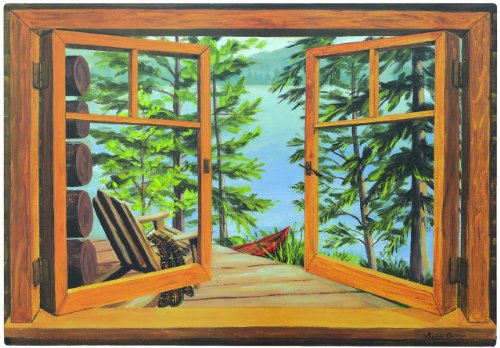 Stupell Home Décor Decorative Faux Window Scene, Cabin And Lake, 36 x 0.5 x 22, Proudly Made in ()