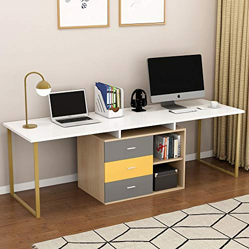 """Tribesigns 87"""" Extra Long Computer Desk for Two Person, Adjustable Double Workstation Office Desk with File Cabinet, Large Reversible L-Shaped Desk for Home Office, White + Gold Metal Legs"""