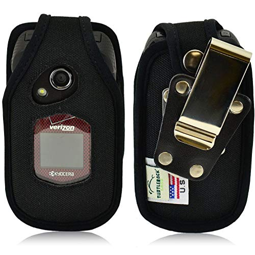 Turtleback Fitted Case for Kyocera DuraXV, DuraXA Flip Phone Heavy Duty Black Nylon with Ratcheting, Removable Belt Clip Made in USA