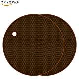 HsuiBhs Silicone Pot Holder 2 Pack, Circular Cup Insulation Mat, Flexible And durable, Heat Resistant HB-GJD/Round/Brown/2 Pcs