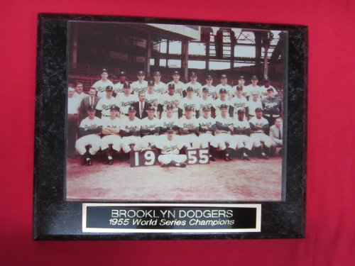 - 1955 Brooklyn Dodgers World Series Engraved Collector Team Plaque w/8x10 Photo COLOR