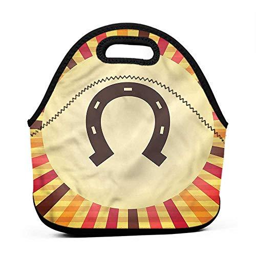 Large Size Reusable Lunch Handbag Horseshoe,Starburst Vintage Lines,broncos lunch bag for men (Plain Bronco Horseshoe)
