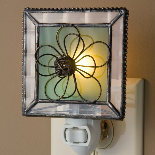 J Devlin NTL 130 Green Stained Glass Night Light with Wire Flower Nursery Bedroom Bathroom Decorative Accent Lite by J Devlin Glass Art