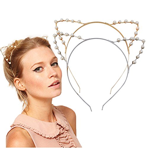 2 Pack Kitty Cat Ears Crystal Pearl Shot In Child/Adult Hair Bands, Silve, Gold and Silver