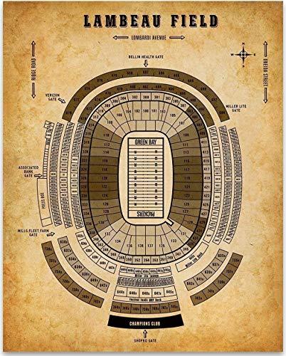 (Lambeau Field Football Seating Chart - 11x14 Unframed Art Print - Great Sports Bar Decor and Gift for Football Fans)