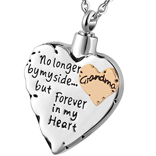 Meice Memorial Necklace for mom,dad,pet,no Longer by My Side Forever in My Heart Cremation Pendant Jewelry (Grandma)