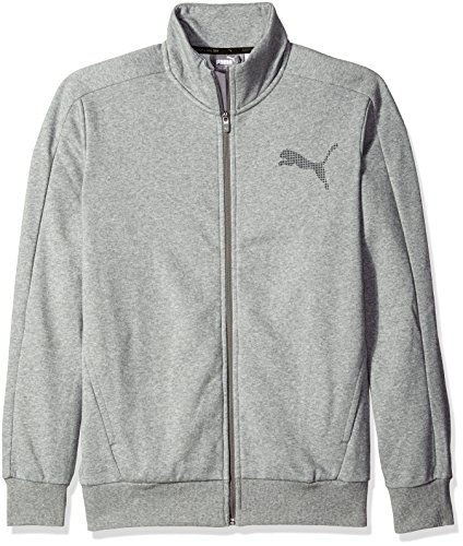 Jacket Track Core (PUMA Men's P48 Core Track Jacket Fleece, Medium Gray Heather, Small)