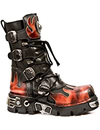 Newrock 591-S1 Red Flame Metal Black Leather Heavy Punk Gothic Boots