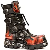 New Rock Newrock 591-S1 Red Flame Metal Black Leather Heavy Punk Gothic Boots 11