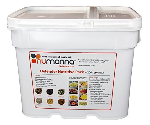 - NuManna 200 Meals, Emergency Survival Food Storage Kit, Separate Rations, In A Bucket, 25+ Year Shelf Life, GMO-Free