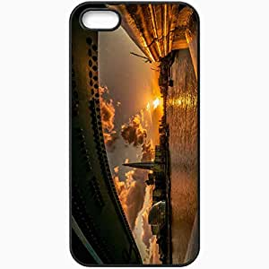 Unique Design Fashion Protective Back Cover For iPhone 5 5S Case London Bridge River Sun Sunset Black