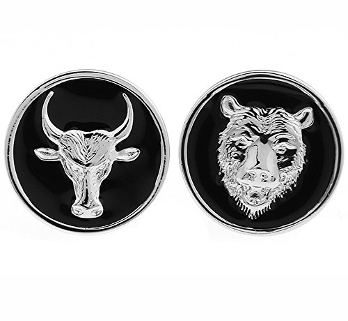 AngelShop Men Jewelry Bull Market Bear Market Stock Cufflinks With Gift Box Bear