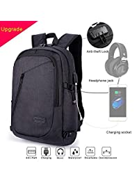 Anti-theft USB Laptop Backpack with USB Charging Port Headphone Compartment and lock Fits 12-16 inch laptop and Notebook Waterproof Grey School Rucksack Business Knapsack Travel Daypack College Bookbag Backpack-Black