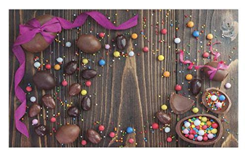 Lunarable Easter Doormat, Wooden Board with Chocolate Eggs a