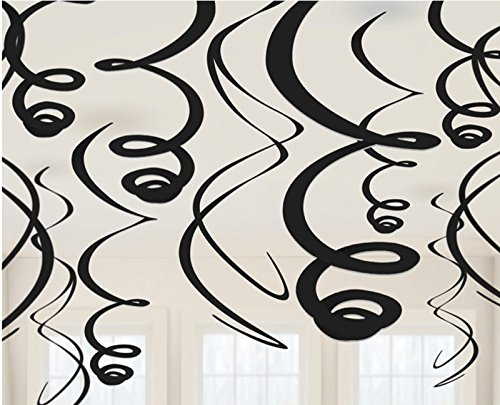 Amscan 67055.10 Swirl (12ct) Party Decorations, 22 inches, Jet Black