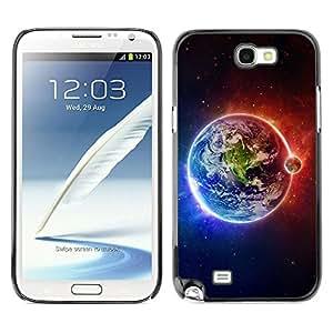 Qstar Arte & diseño plástico duro Fundas Cover Cubre Hard Case Cover para SAMSUNG Galaxy Note 2 II / N7100 ( Earth Moon Fire Water Universe Planet View)