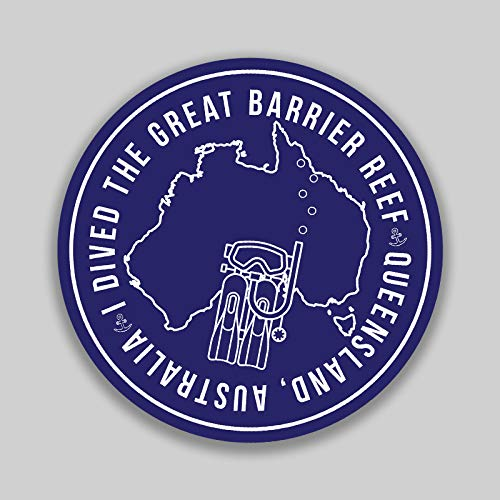 (The Great Barrier Reef Australia Adventure Wanderlust Scuba Diving Snorkeling Swimming Camping Fishing Sticker 2-Pack 4 Inch Round Premium Quality Vinyl UV Protective Laminate PD2031)