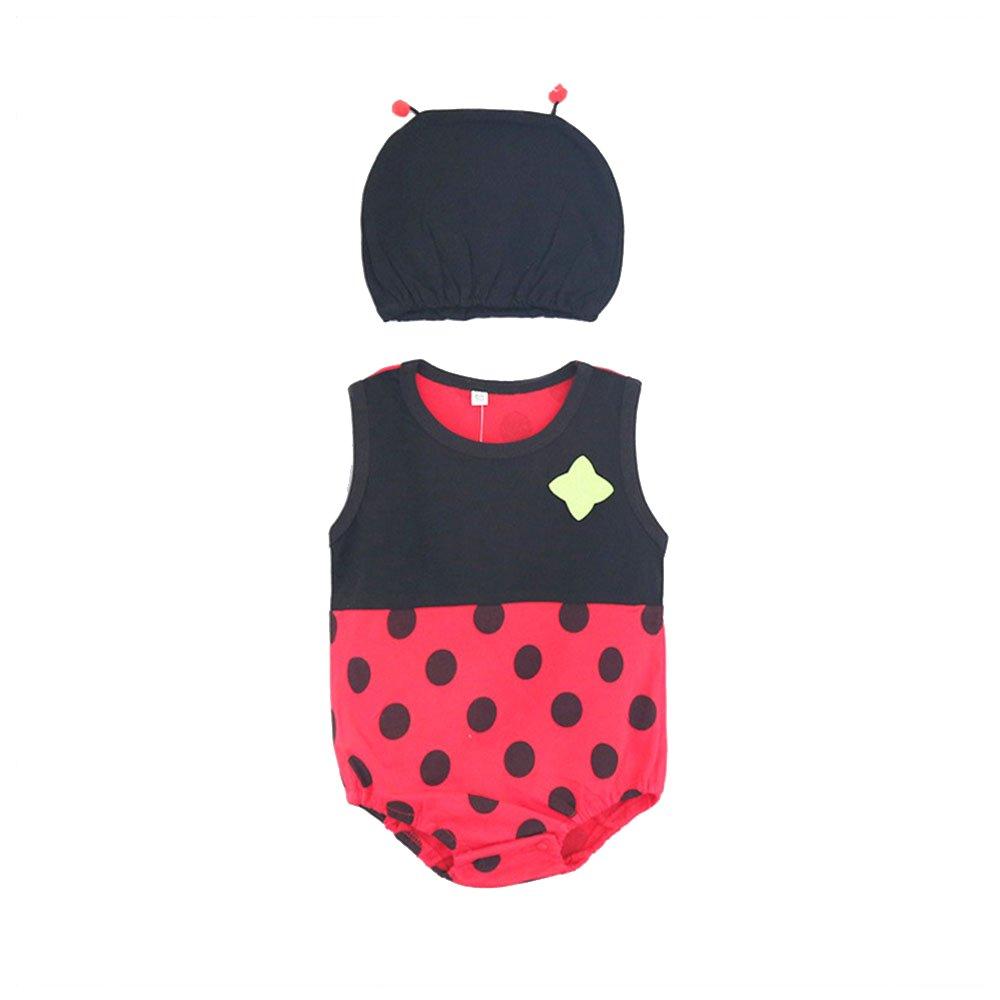 Kleid + Hut f/ür Neugeborene Kleinkinder Jungen M/ädchen Sommer Baby Marienk/äfer Babykleidung Baby Strampler Baumwolle Overalls 95 B/üste