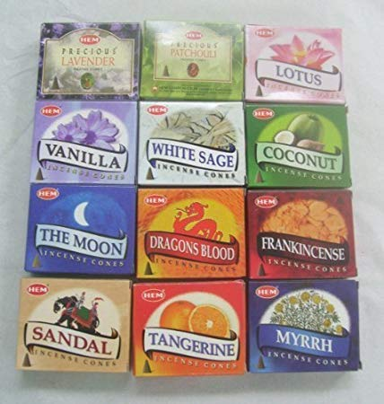 12 Assorted Boxes of HEM Incense Cones, Best Sellers Set #2 12 X 10 (120 total)