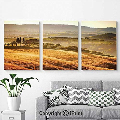 Canvas Prints Modern Art Framed Wall Mural Siena Tuscany Retro Farm House Trees Old Path Country Landscape on Sunset for Home Decor 3 Panels,Wall Decorations for Living Room Bedroom Dining Room Bath
