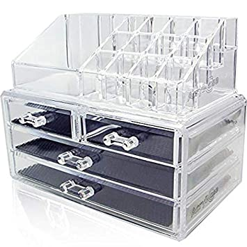 5581e7e6c200 Acrylic Makeup Jewelry Vanity Organizer - Clear Lipstick Make up Brush  Display case Container for Beauty